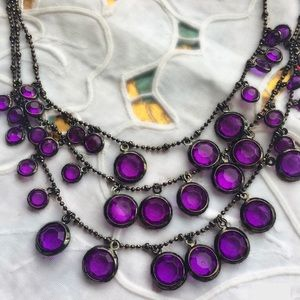 Jewelry - Multi-strand purple and Black necklace